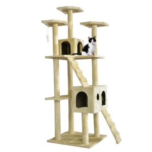 BestPet 73 inch Cat Tree Scratcher Play House Condo Beige