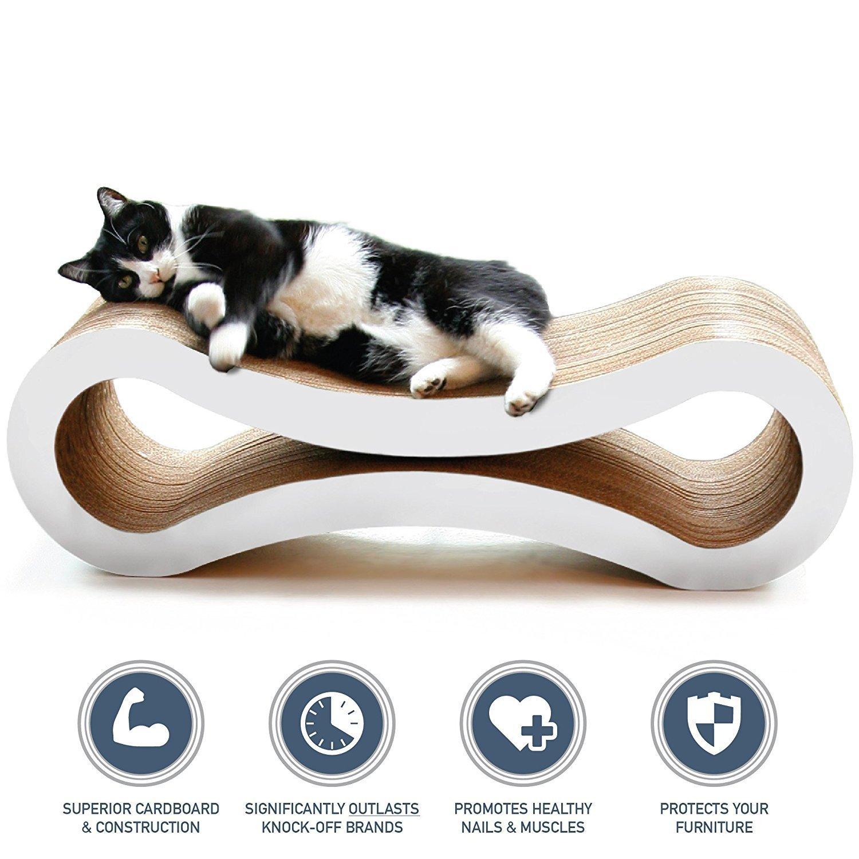 PetFusion Ultimate Cat Scratcher Lounge Cloud White
